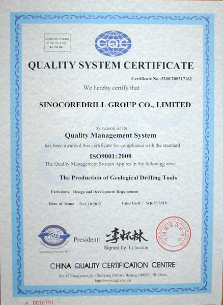 Chine Sinocoredrill Group Co.,Ltd Certifications